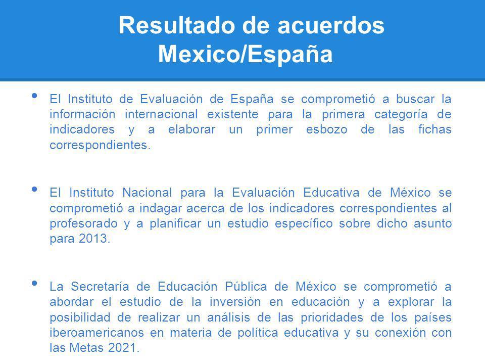 Resultado de acuerdos Mexico/España El Instituto de Evaluación de España se comprometió a buscar la información internacional existente para la primer