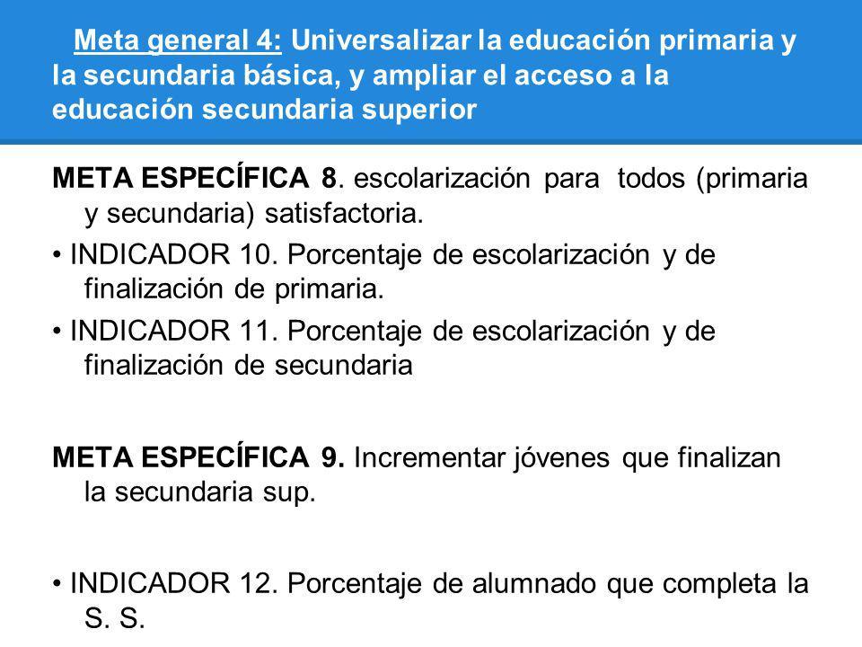 Meta general 4: Universalizar la educación primaria y la secundaria básica, y ampliar el acceso a la educación secundaria superior META ESPECÍFICA 8.