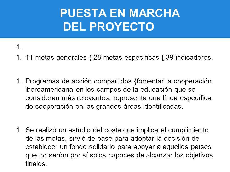 PUESTA EN MARCHA DEL PROYECTO 1. 11 metas generales { 28 metas específicas { 39 indicadores. 1.Programas de acción compartidos {fomentar la cooperació