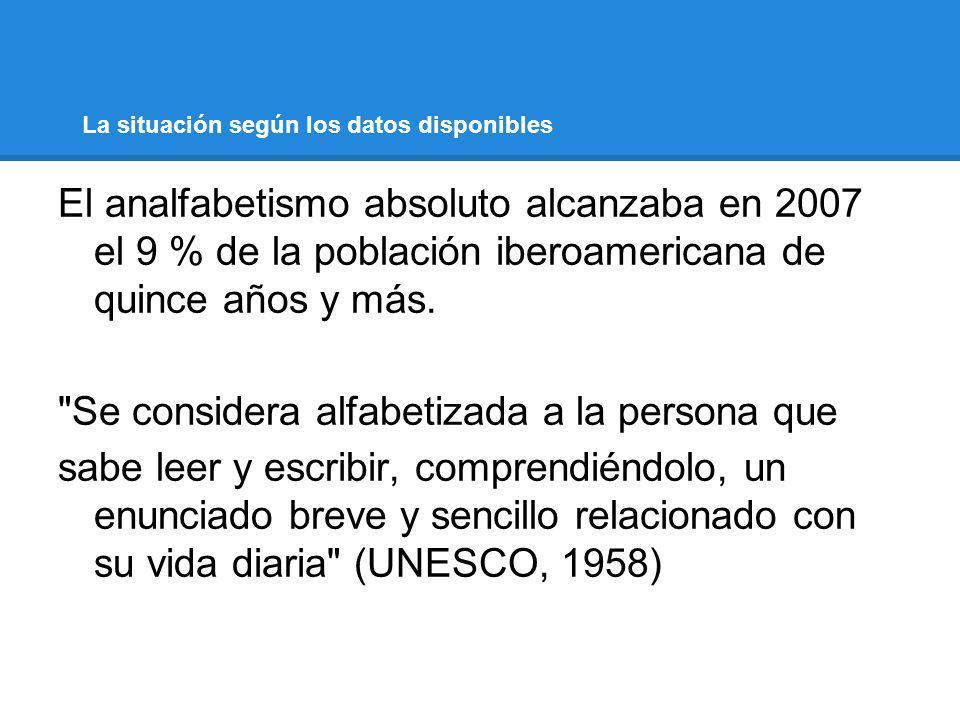 La situación según los datos disponibles El analfabetismo absoluto alcanzaba en 2007 el 9 % de la población iberoamericana de quince años y más.