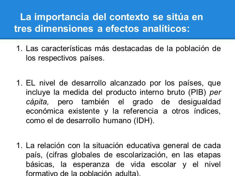 La importancia del contexto se sitúa en tres dimensiones a efectos analíticos: 1.Las características más destacadas de la población de los respectivos