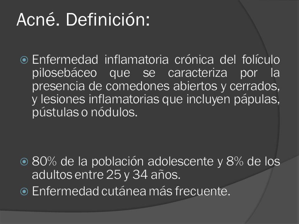 A) Jabones y Lociones limpiadoras Uso recomendado como medida de higiene diaria - Gel limpiador Babé - Exfoliac gel limpiador espumoso - Gel limpiador Clean&Clear - Gel purificante Roc - Cetaphil loción limpiadora - Sebumlaude gel (ciclopiroxolamina 1%, bisabolol, complejo seborregulador) - Acnaveen bar - Effaclar gel espumante purificante - Clarifex purificante (clorhexidina 4%, quaternium 15, alcohol diclorobencílico, sorbitol, AL) - Gel dermatológico limpiador Hyfac plus - D-Seb detergente (clorhexidina 4%, sorbitol, AL) - Keracnyl gel moussant purifiant - Bioderma Sébium K2 - Lutsine Bactopur - Lysanel gel limpiador (alfa y betahidroxiácidos, azelaico 0.6%, sales de zinc 0.5%)
