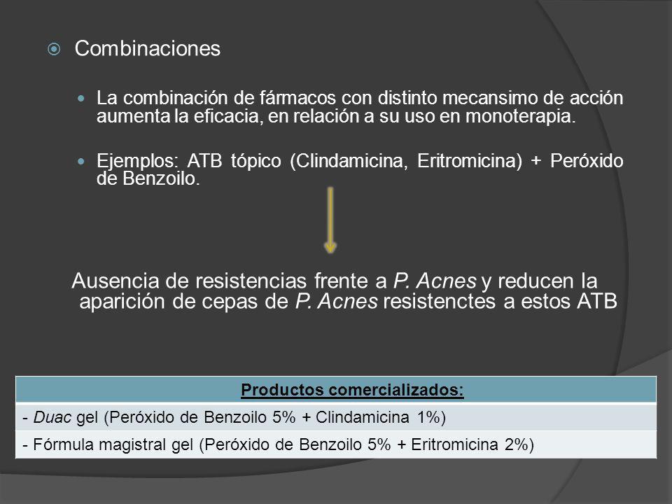 Combinaciones La combinación de fármacos con distinto mecansimo de acción aumenta la eficacia, en relación a su uso en monoterapia. Ejemplos: ATB tópi