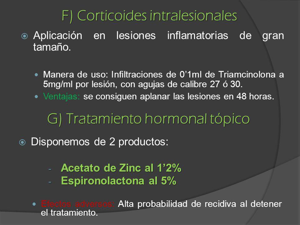F) Corticoides intralesionales G) Tratamiento hormonal tópico Disponemos de 2 productos: - Acetato de Zinc al 12% - Espironolactona al 5% Efectos adve