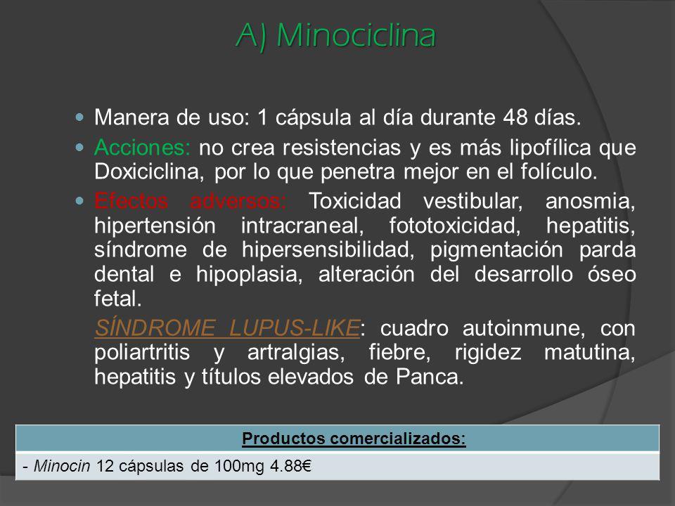 A) Minociclina Manera de uso: 1 cápsula al día durante 48 días. Acciones: no crea resistencias y es más lipofílica que Doxiciclina, por lo que penetra