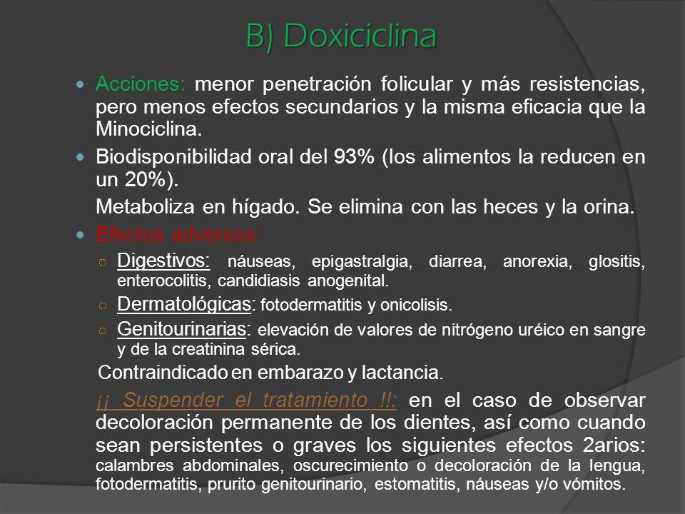B) Doxiciclina Acciones: menor penetración folicular y más resistencias, pero menos efectos secundarios y la misma eficacia que la Minociclina. Biodis