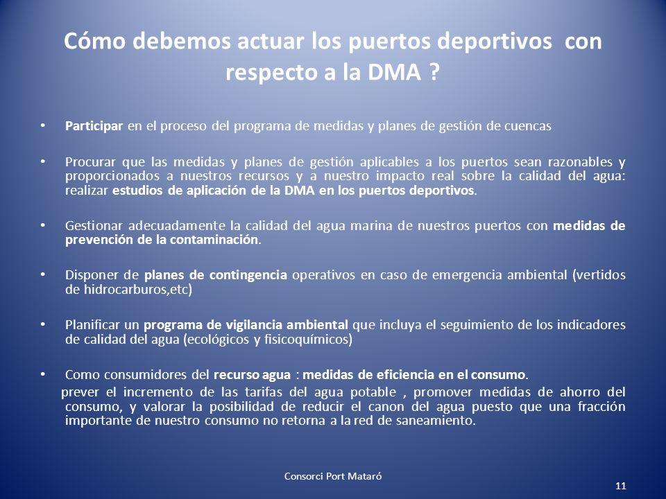 Cómo debemos actuar los puertos deportivos con respecto a la DMA ? Participar en el proceso del programa de medidas y planes de gestión de cuencas Pro