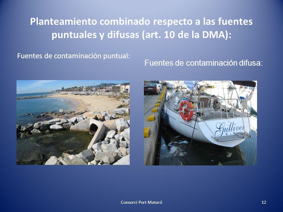 Fuentes de contaminación puntual: Consorci Port Mataró12 Planteamiento combinado respecto a las fuentes puntuales y difusas (art. 10 de la DMA): Fuent