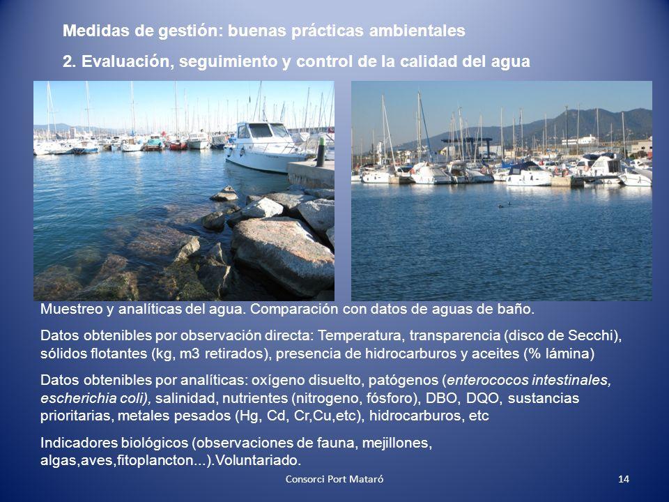 Medidas de gestión: buenas prácticas ambientales 2. Evaluación, seguimiento y control de la calidad del agua Muestreo y analíticas del agua. Comparaci