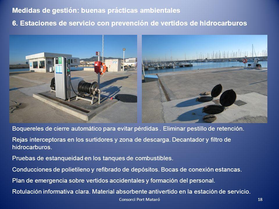 Medidas de gestión: buenas prácticas ambientales 6. Estaciones de servicio con prevención de vertidos de hidrocarburos Boquereles de cierre automático