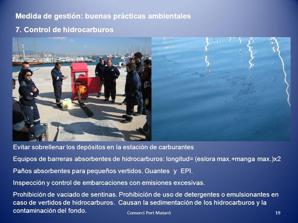 Medida de gestión: buenas prácticas ambientales 7. Control de hidrocarburos Evitar sobrellenar los depósitos en la estación de carburantes Equipos de