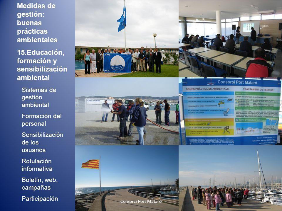 Medidas de gestión: buenas prácticas ambientales 15.Educación, formación y sensibilización ambiental Sistemas de gestión ambiental Formación del perso