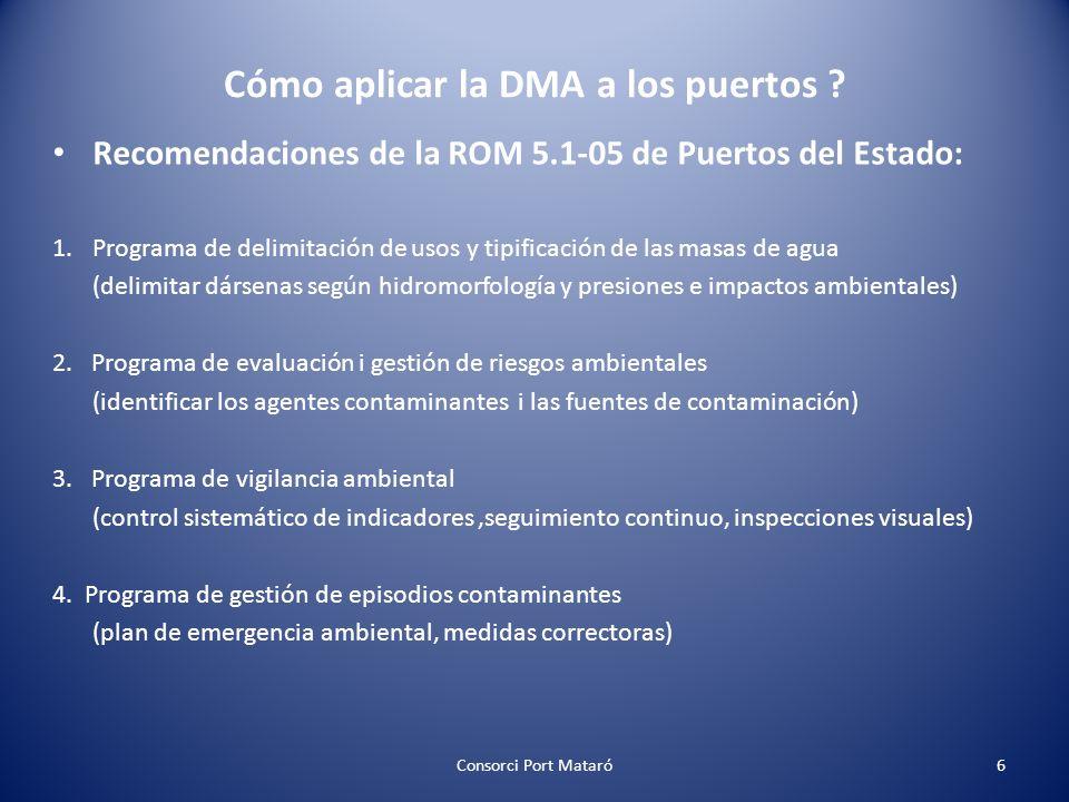Cómo aplicar la DMA a los puertos ? Recomendaciones de la ROM 5.1-05 de Puertos del Estado: 1.Programa de delimitación de usos y tipificación de las m