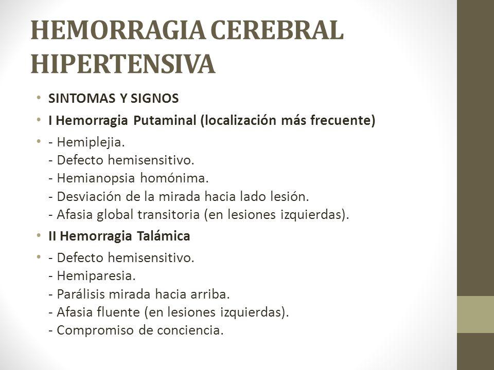 HEMORRAGIA CEREBRAL HIPERTENSIVA SINTOMAS Y SIGNOS I Hemorragia Putaminal (localización más frecuente) - Hemiplejia.