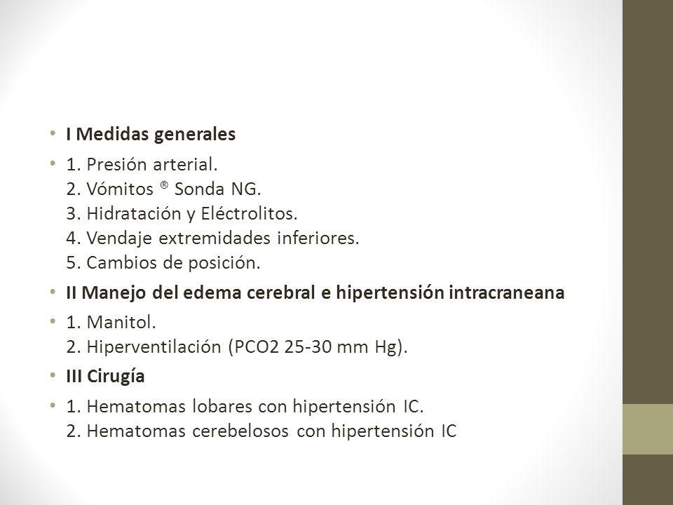 I Medidas generales 1.Presión arterial. 2. Vómitos ® Sonda NG.