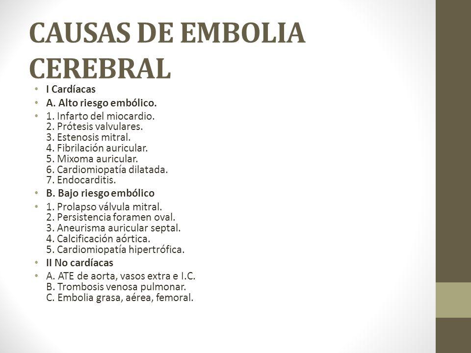 CAUSAS DE EMBOLIA CEREBRAL I Cardíacas A.Alto riesgo embólico.