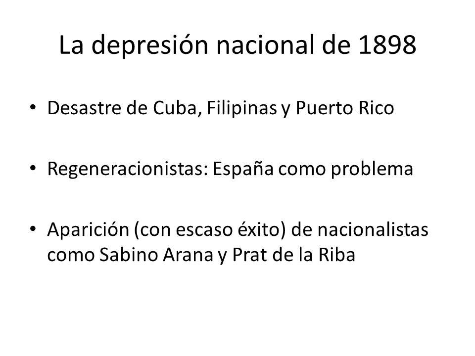 La depresión nacional de 1898 Desastre de Cuba, Filipinas y Puerto Rico Regeneracionistas: España como problema Aparición (con escaso éxito) de nacion
