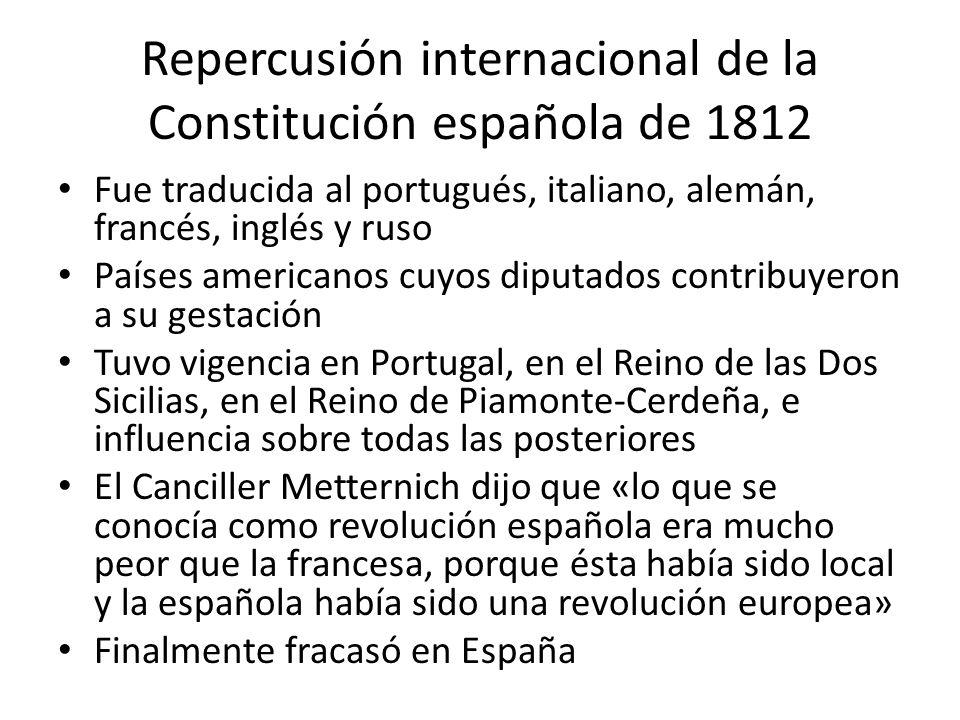 Repercusión internacional de la Constitución española de 1812 Fue traducida al portugués, italiano, alemán, francés, inglés y ruso Países americanos c