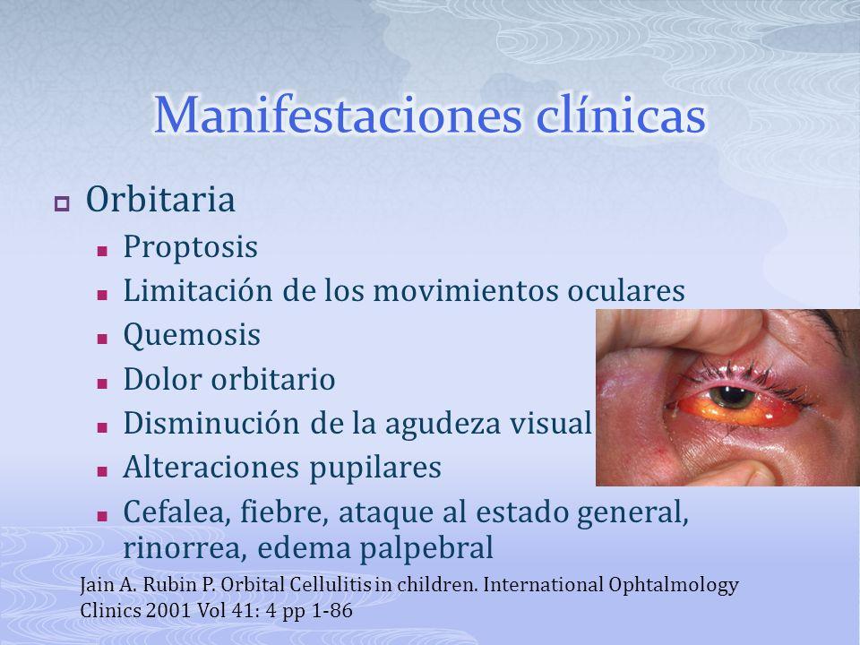 Orbitaria Proptosis Limitación de los movimientos oculares Quemosis Dolor orbitario Disminución de la agudeza visual Alteraciones pupilares Cefalea, f