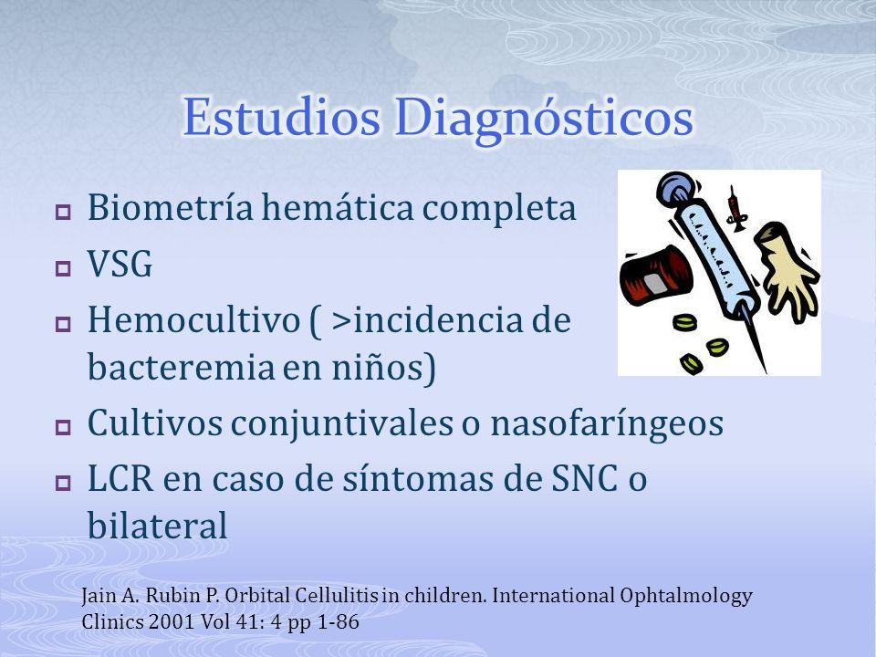 Biometría hemática completa VSG Hemocultivo ( >incidencia de bacteremia en niños) Cultivos conjuntivales o nasofaríngeos LCR en caso de síntomas de SN