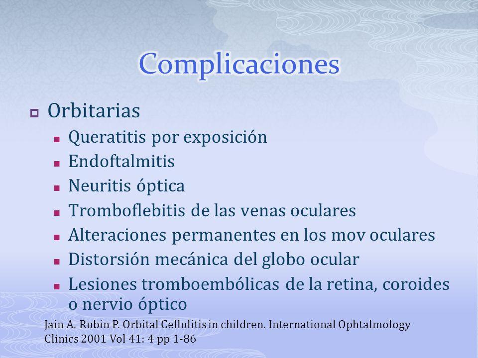 Orbitarias Queratitis por exposición Endoftalmitis Neuritis óptica Tromboflebitis de las venas oculares Alteraciones permanentes en los mov oculares D