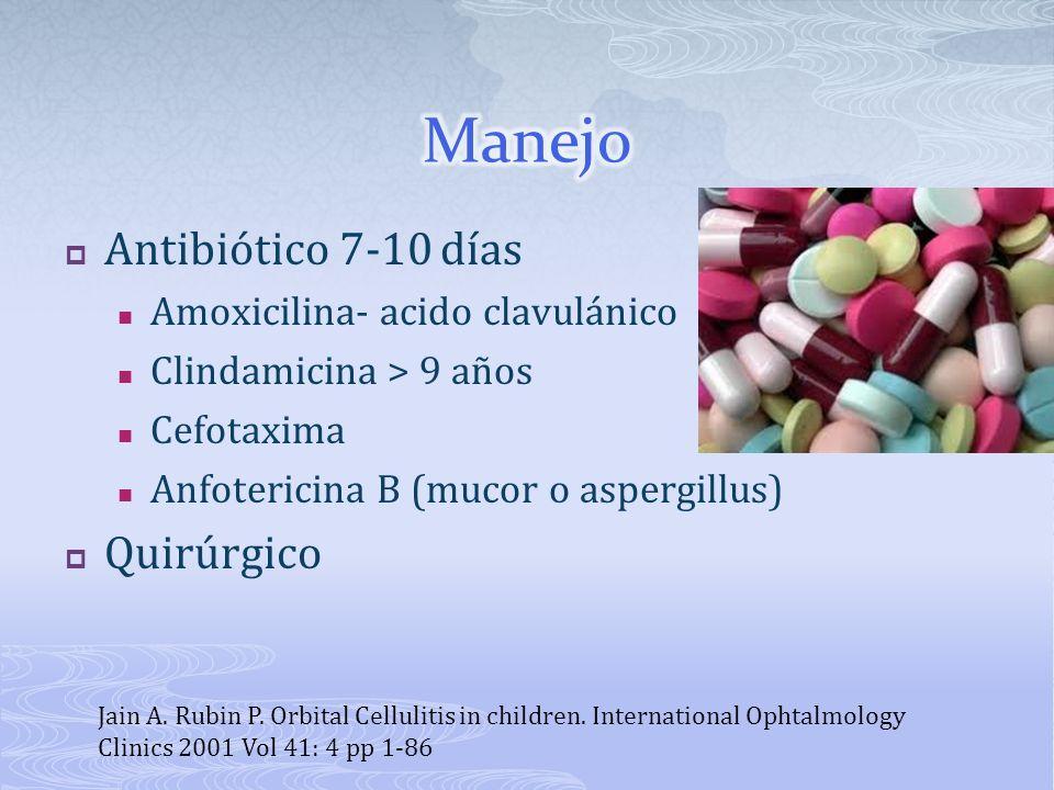 Antibiótico 7-10 días Amoxicilina- acido clavulánico Clindamicina > 9 años Cefotaxima Anfotericina B (mucor o aspergillus) Quirúrgico Jain A. Rubin P.