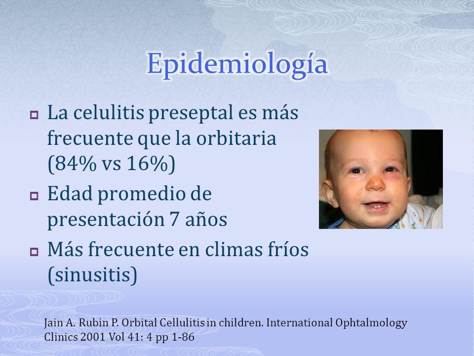 La celulitis preseptal es más frecuente que la orbitaria (84% vs 16%) Edad promedio de presentación 7 años Más frecuente en climas fríos (sinusitis) J