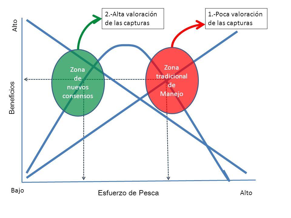 Beneficios Esfuerzo de Pesca Alto Bajo Zona tradicional de Manejo Zona de nuevos consensos 1.-Poca valoración de las capturas 2.-Alta valoración de las capturas