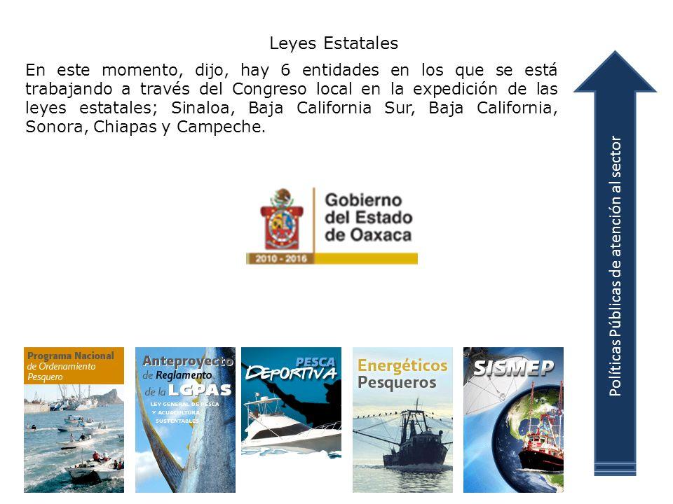 Leyes Estatales En este momento, dijo, hay 6 entidades en los que se está trabajando a través del Congreso local en la expedición de las leyes estatales; Sinaloa, Baja California Sur, Baja California, Sonora, Chiapas y Campeche.