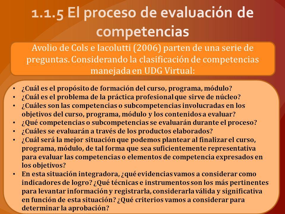 Las actividades evaluativas que se desprenden de estas reflexiones podrían establecerse de la siguiente manera: Con base en los objetivos, reflexionar sobre las competencias o subcompetencias a evaluar.