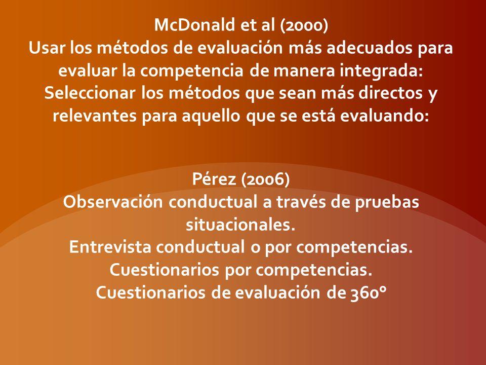Tabla 1.Métodos de evaluación (adaptado de Cohen, 1994 citado en McDonald, et al.