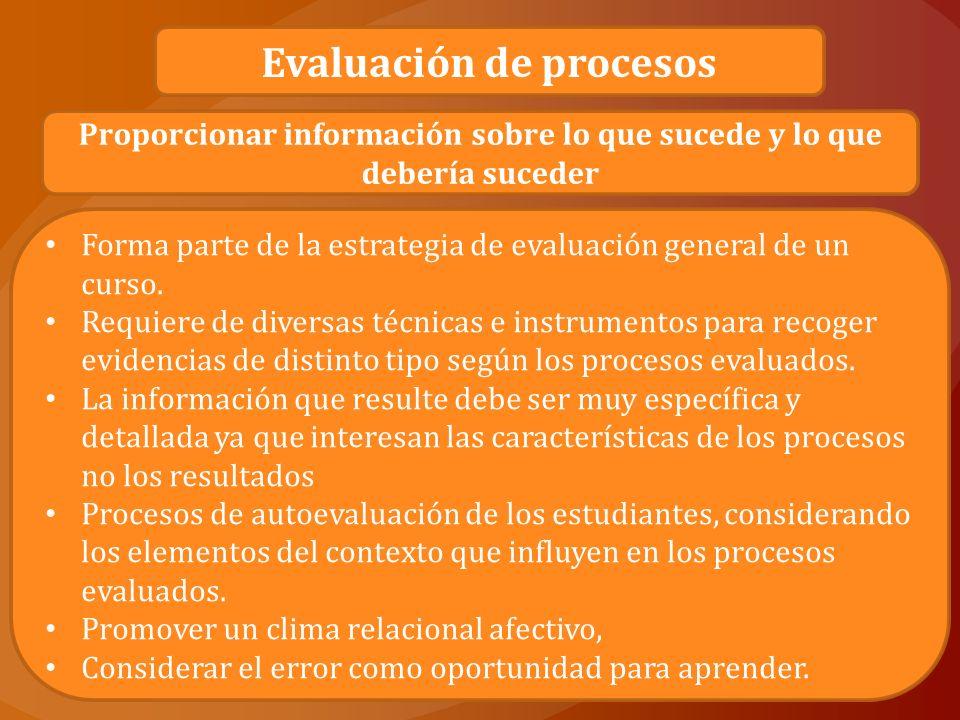 Para las autoras, una evaluación de procesos siempre buscará responder: ¿Cómo se avanza hacia los objetivos.