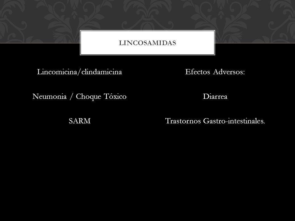 Lincomicina/clindamicina Neumonia / Choque Tóxico SARM Efectos Adversos: Diarrea Trastornos Gastro-intestinales. LINCOSAMIDAS