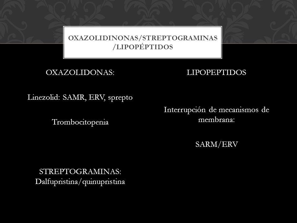 OXAZOLIDONAS: Linezolid: SAMR, ERV, sprepto Trombocitopenia STREPTOGRAMINAS: Dalfupristina/quinupristina LIPOPEPTIDOS Interrupción de mecanismos de me