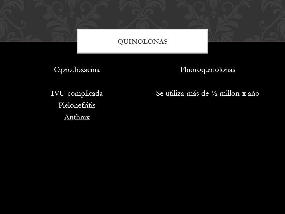 Ciprofloxacina IVU complicada Pielonefritis Anthrax Fluoroquinolonas Se utiliza más de ½ millon x año QUINOLONAS