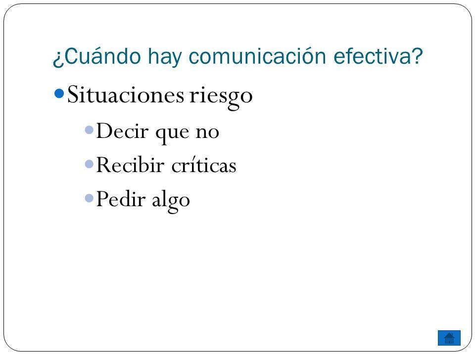 ¿Cuándo hay comunicación efectiva? Situaciones riesgo Decir que no Recibir críticas Pedir algo