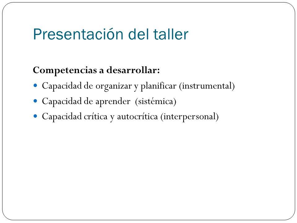 Presentación del taller Competencias a desarrollar: Capacidad de organizar y planificar (instrumental) Capacidad de aprender (sistémica) Capacidad crítica y autocrítica (interpersonal)