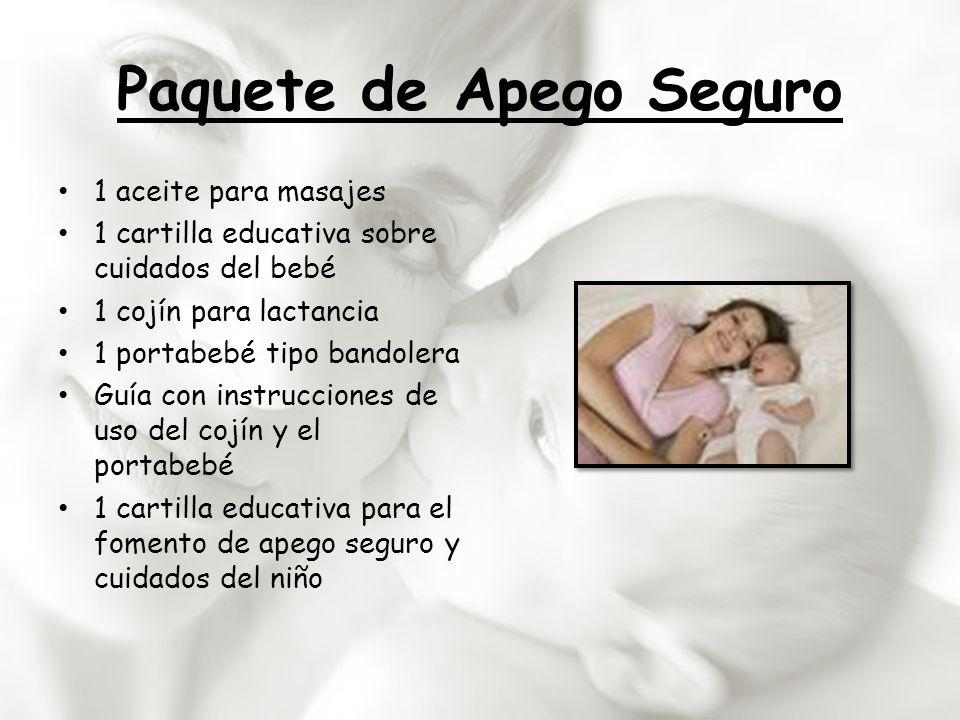 Paquete de Apego Seguro 1 aceite para masajes 1 cartilla educativa sobre cuidados del bebé 1 cojín para lactancia 1 portabebé tipo bandolera Guía con