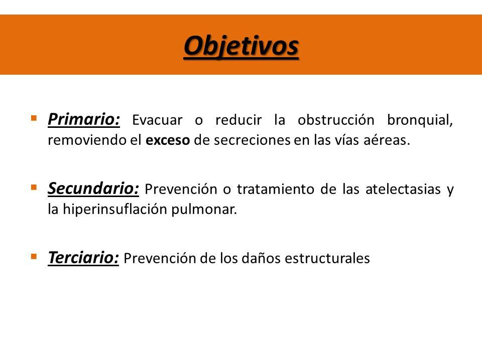 Objetivos Primario: Evacuar o reducir la obstrucción bronquial, removiendo el exceso de secreciones en las vías aéreas. Secundario: Prevención o trata