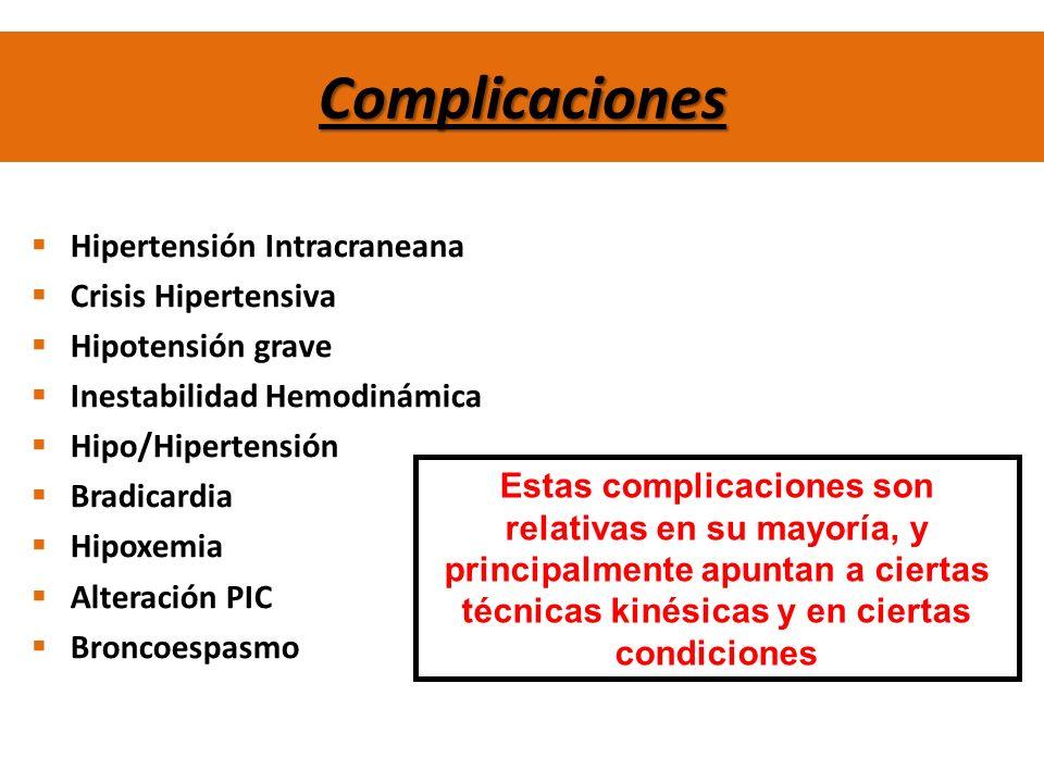 Complicaciones Hipertensión Intracraneana Crisis Hipertensiva Hipotensión grave Inestabilidad Hemodinámica Hipo/Hipertensión Bradicardia Hipoxemia Alt