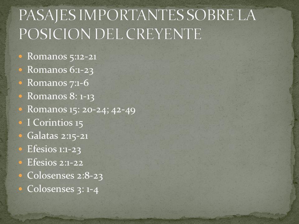Romanos 5:12-21 Romanos 6:1-23 Romanos 7:1-6 Romanos 8: 1-13 Romanos 15: 20-24; 42-49 I Corintios 15 Galatas 2:15-21 Efesios 1:1-23 Efesios 2:1-22 Colosenses 2:8-23 Colosenses 3: 1-4