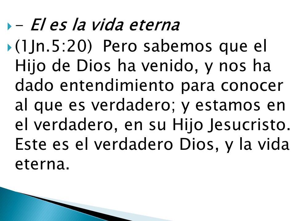 - El es la vida eterna (1Jn.5:20) Pero sabemos que el Hijo de Dios ha venido, y nos ha dado entendimiento para conocer al que es verdadero; y estamos