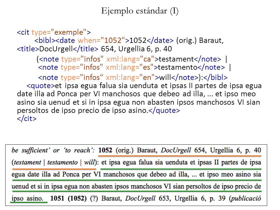 Ejemplo estándar (I) 1052 (orig.) Baraut, DocUrgell 654, Urgellia 6, p. 40 ( testament | testamento | will ): et ipsa egua falua sia uenduta et ipsas