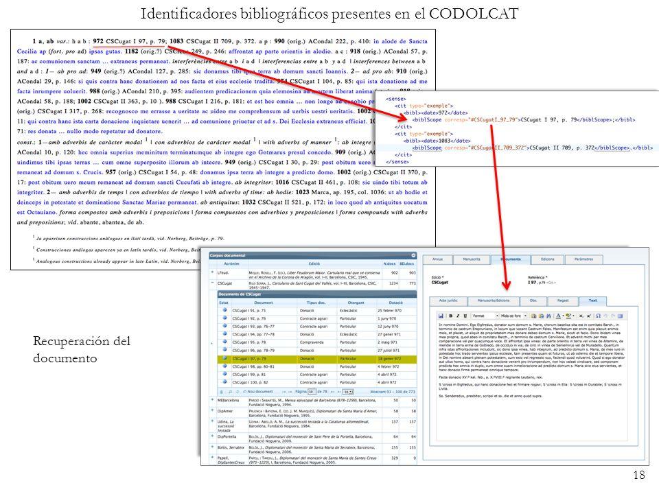 Identificadores bibliográficos presentes en el CODOLCAT Recuperación del documento 18