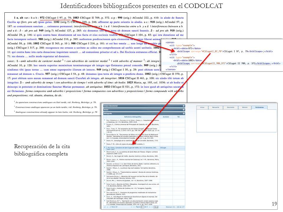 Identificadores bibliograficos presentes en el CODOLCAT Recuperación de la cita bibliográfica completa 19