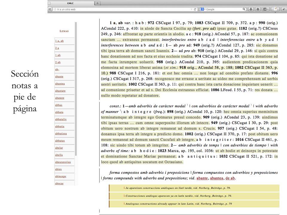 Sección notas a pie de página