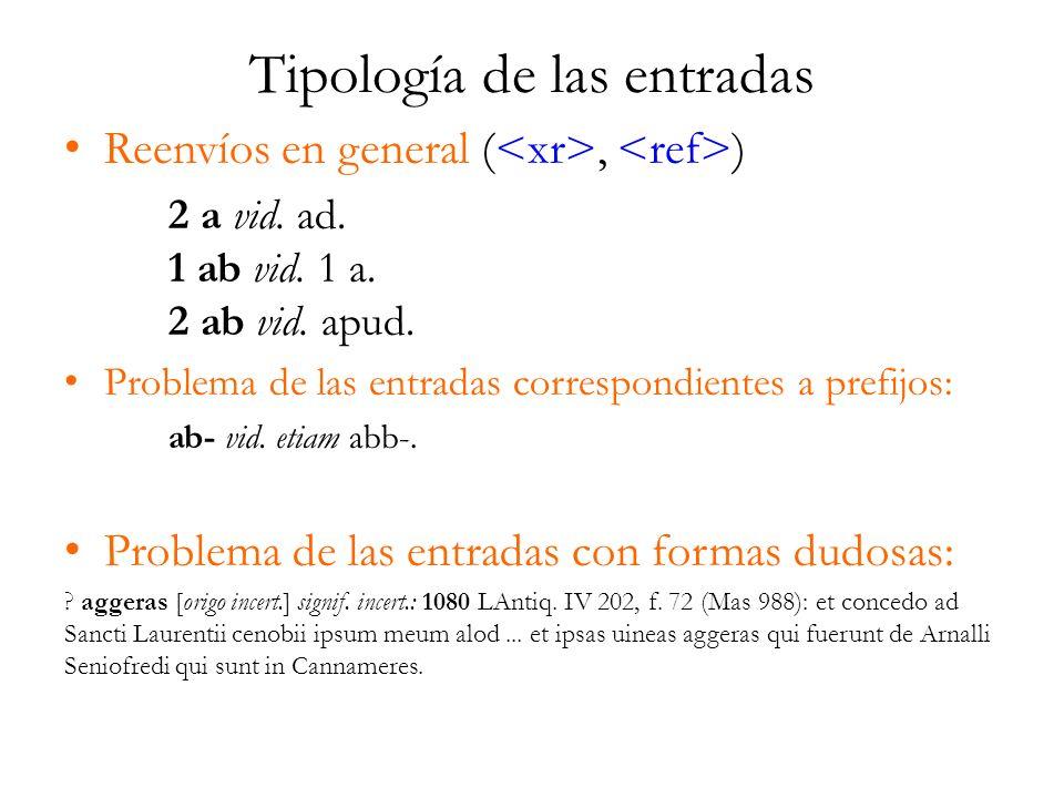 Tipología de las entradas Reenvíos en general (, ) 2 a vid. ad. 1 ab vid. 1 a. 2 ab vid. apud. Problema de las entradas correspondientes a prefijos: a