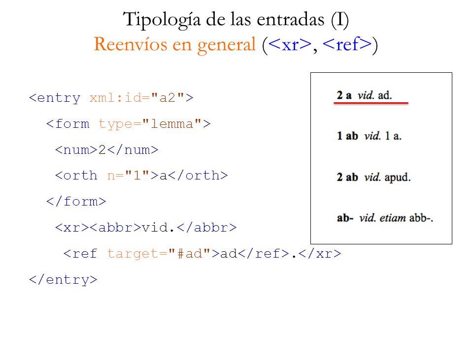 Tipología de las entradas (II) ¿Grado de pertinencia en una edición electrónica.