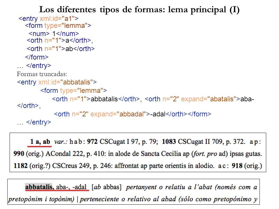 Los diferentes tipos de formas: lema principal (I) 1 a, ab … Formas truncadas: abbatalis, aba-, -adal …