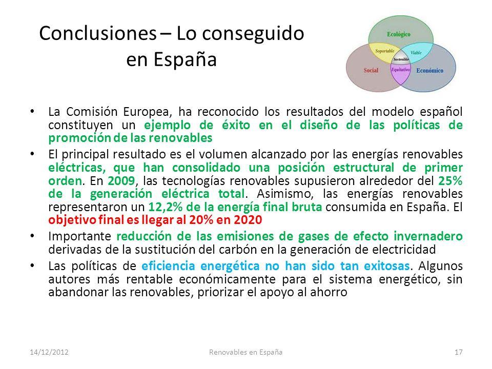 Conclusiones – Lo conseguido en España La Comisión Europea, ha reconocido los resultados del modelo español constituyen un ejemplo de éxito en el dise